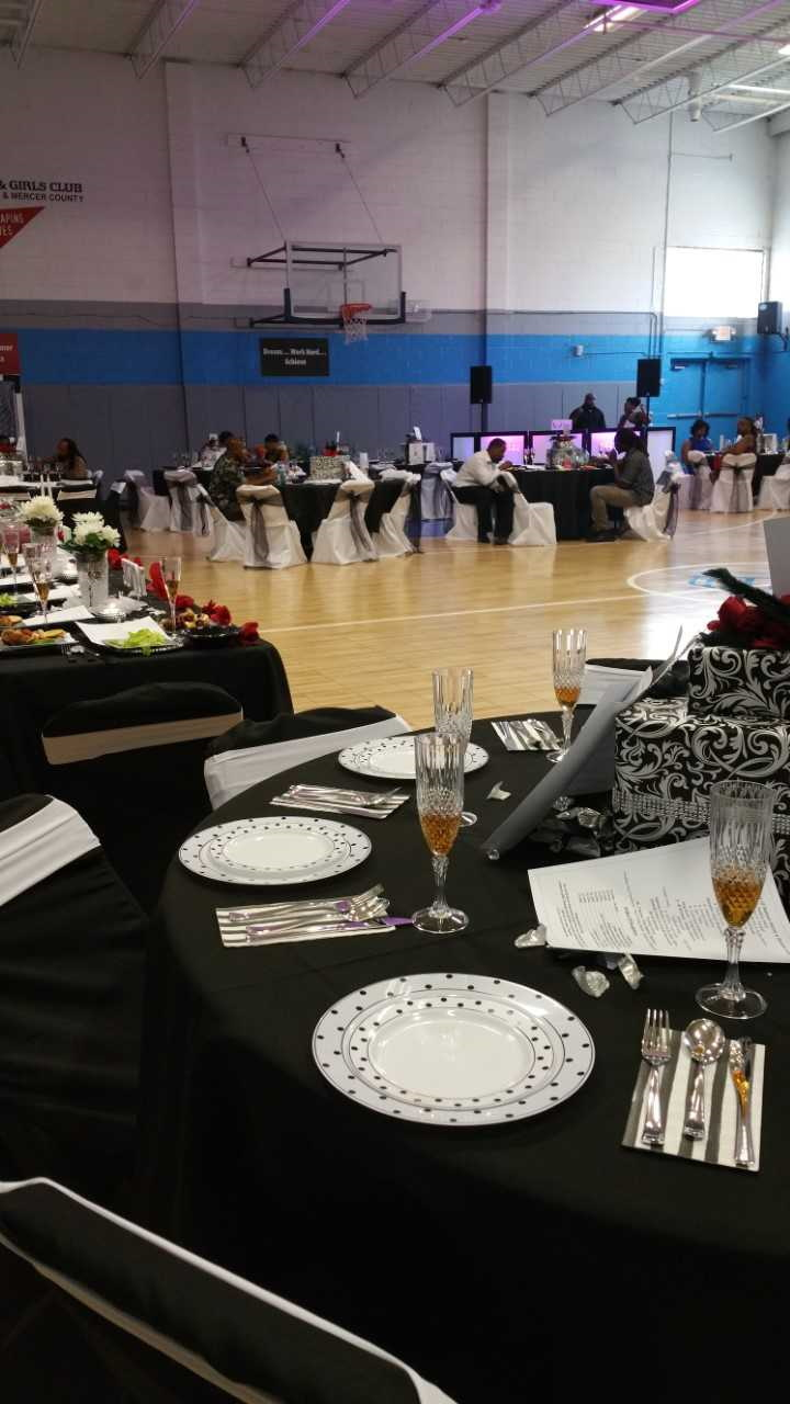 Table with formal party decorations